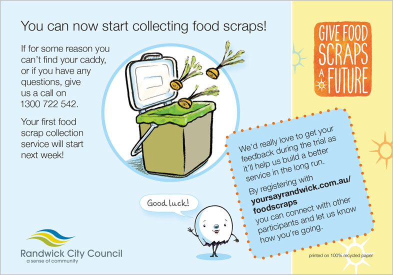 Caddy-bk postcard - Postcards- Sustainable environmental communication design- Shane Nagle Randwick Council Food Scraps Collection campaign