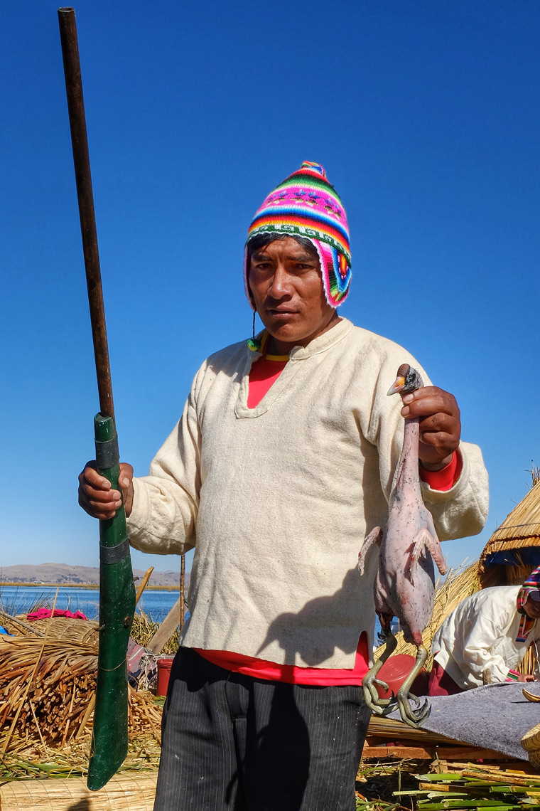 Living from the sea and sky; Uros islanders, Lake Titicaca, Peru