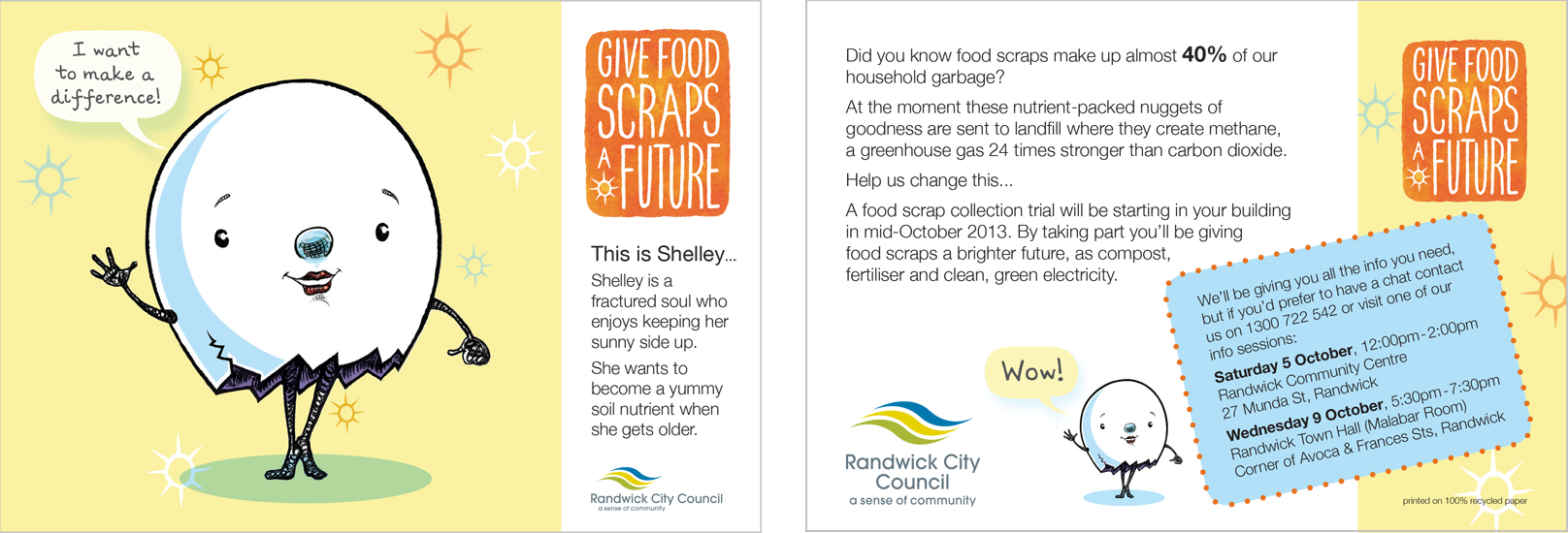 Postcards- Sustainable environmental communication design- Shane Nagle Randwick Council Food Scraps Collection campaign