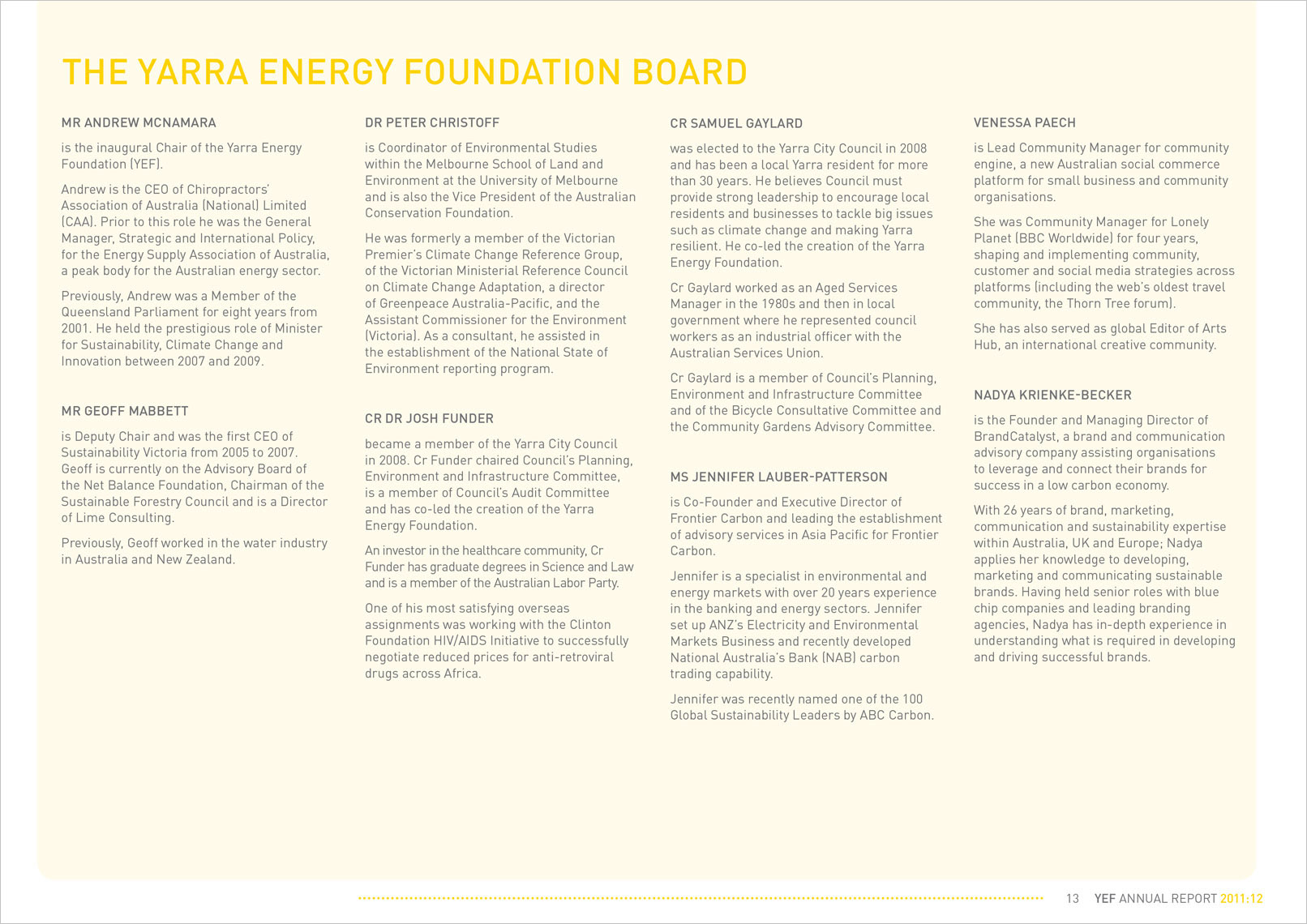 p13 Annual Report Designed by Shane Nagle YEF Yarra Energy Foundation Annual Report 2012