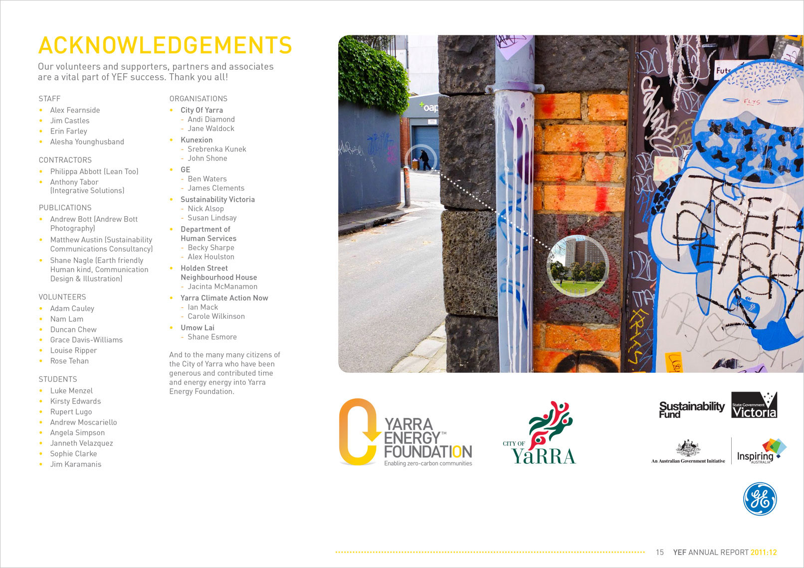 p15 Annual Report Designed by Shane Nagle YEF Yarra Energy Foundation Annual Report 2012